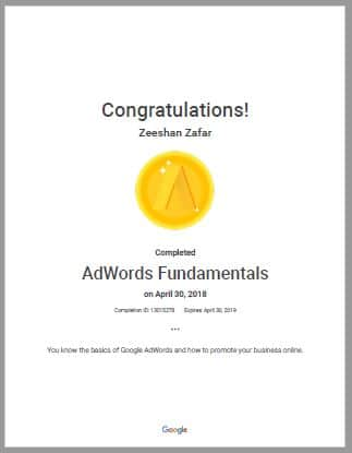 Google Ads Certificate with KDMI